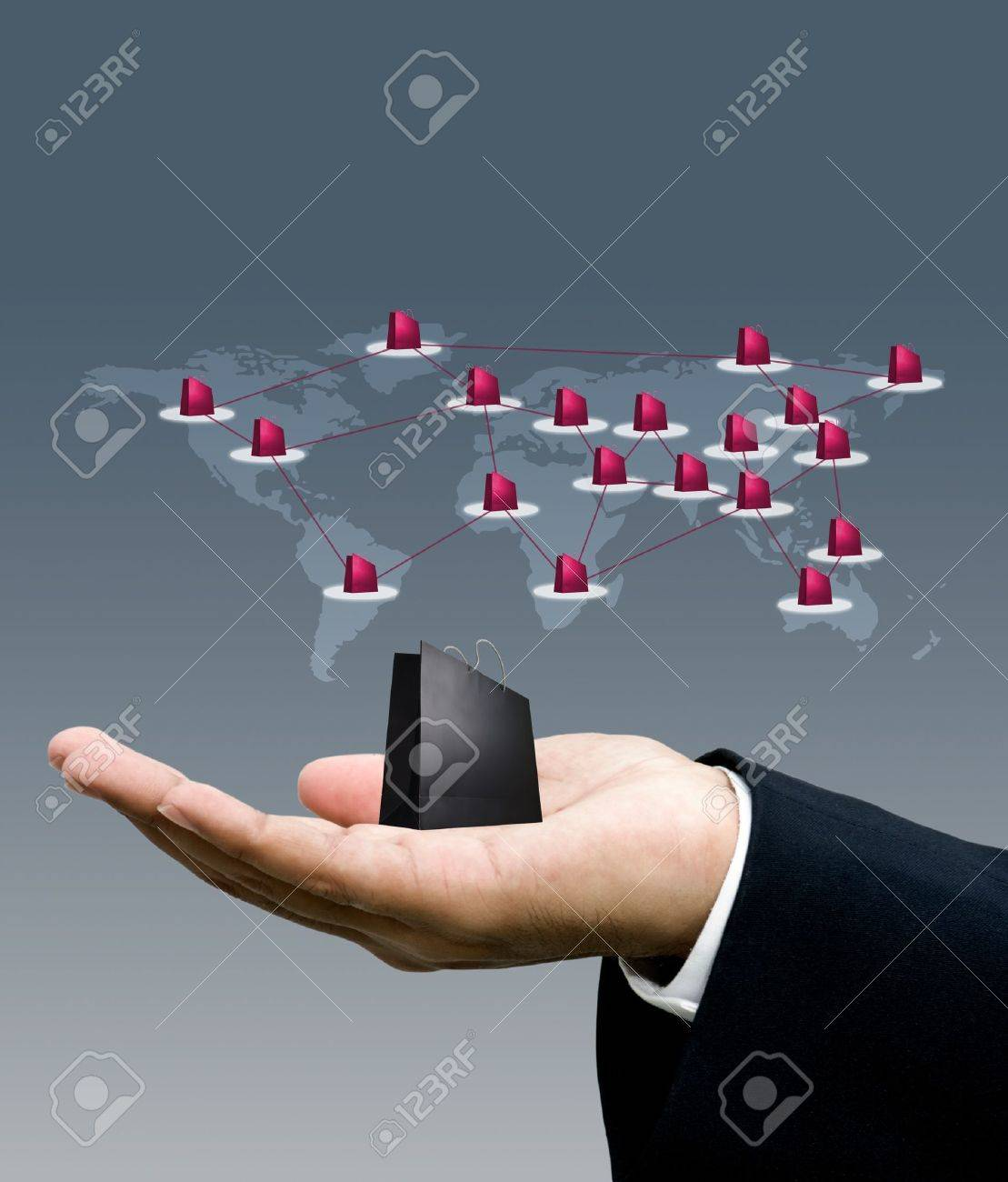 Shopping business around the world, Network marketing concept Stock Photo - 13500882