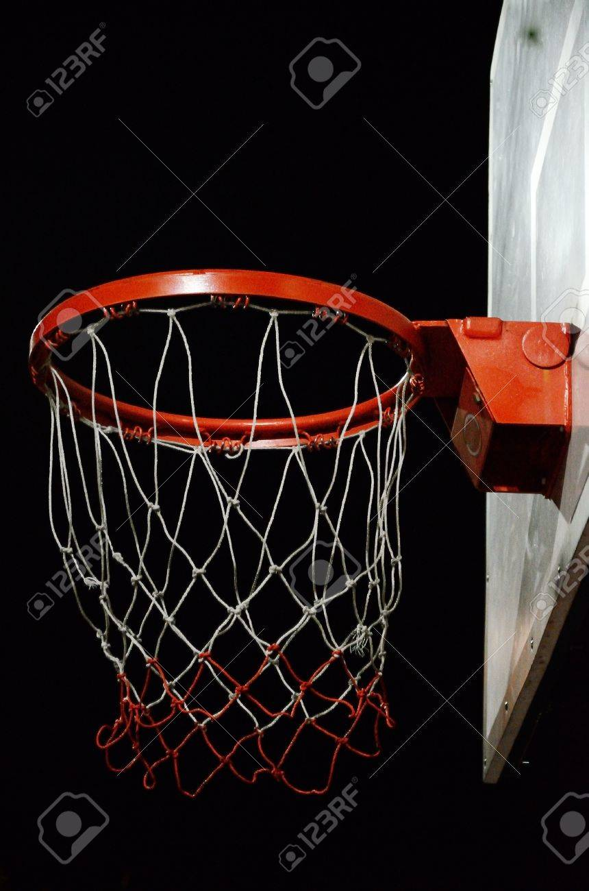Basketball Hoop With Night Sky Background Stock Photo, Picture And ...