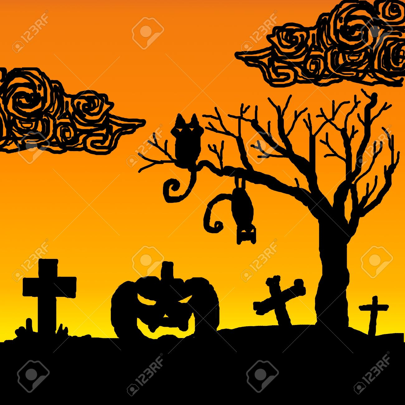 Halloween pumpkins with black cat on dried tree Stock Photo - 15174304