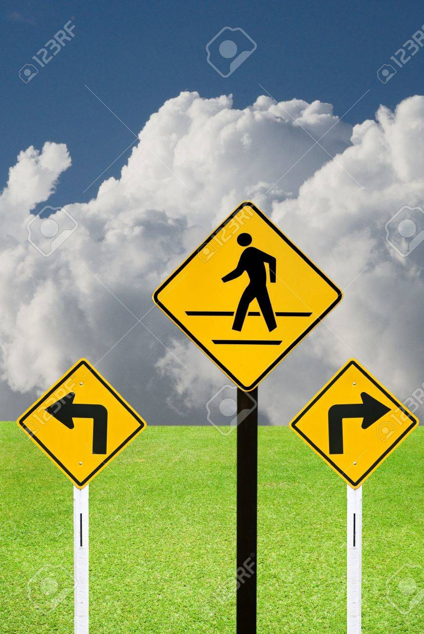 Turn sign and crosswalk sign with nice landscape Stock Photo - 15384080