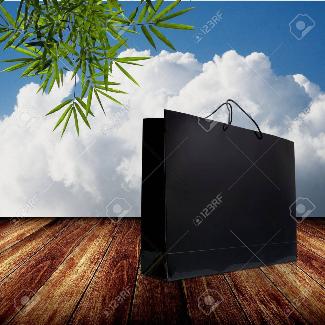 Nice glossy shopping bag with nice nature background Stock Photo - 15769847