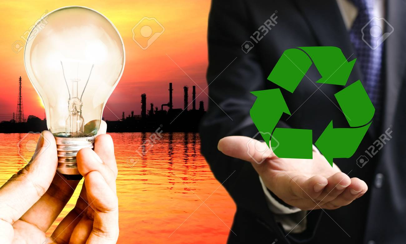 Businessman show recycle power from plant Stock Photo - 17221309