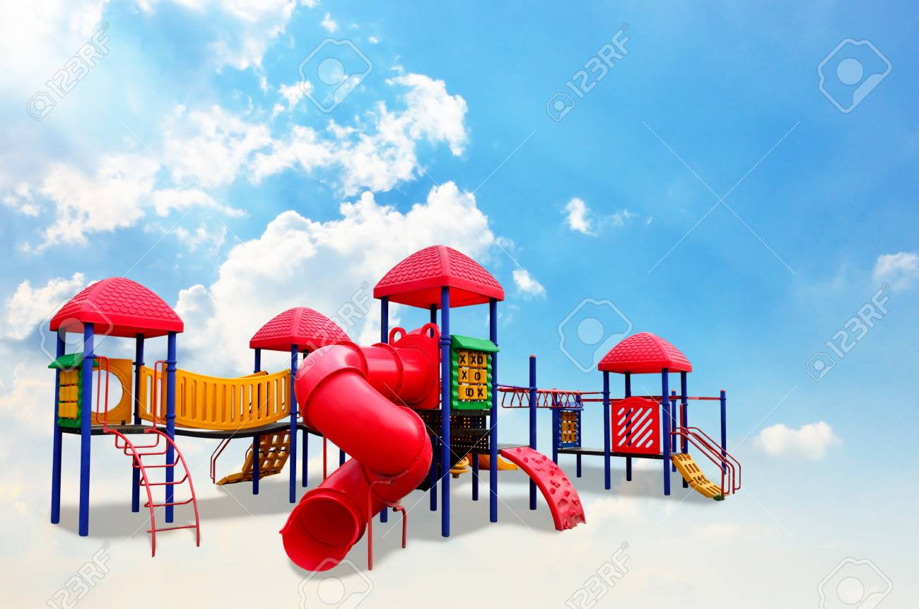 Colorful children s playground on the cloud Stock Photo - 20008279