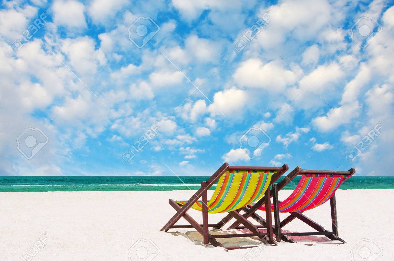 Beach Chairs With Nice Sea And Sky Background Stock Photo Picture And Royalty Free Image Image 24230472