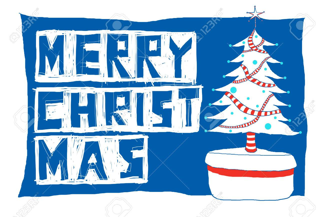 Christmas Tree With Merry Word Stock Photo