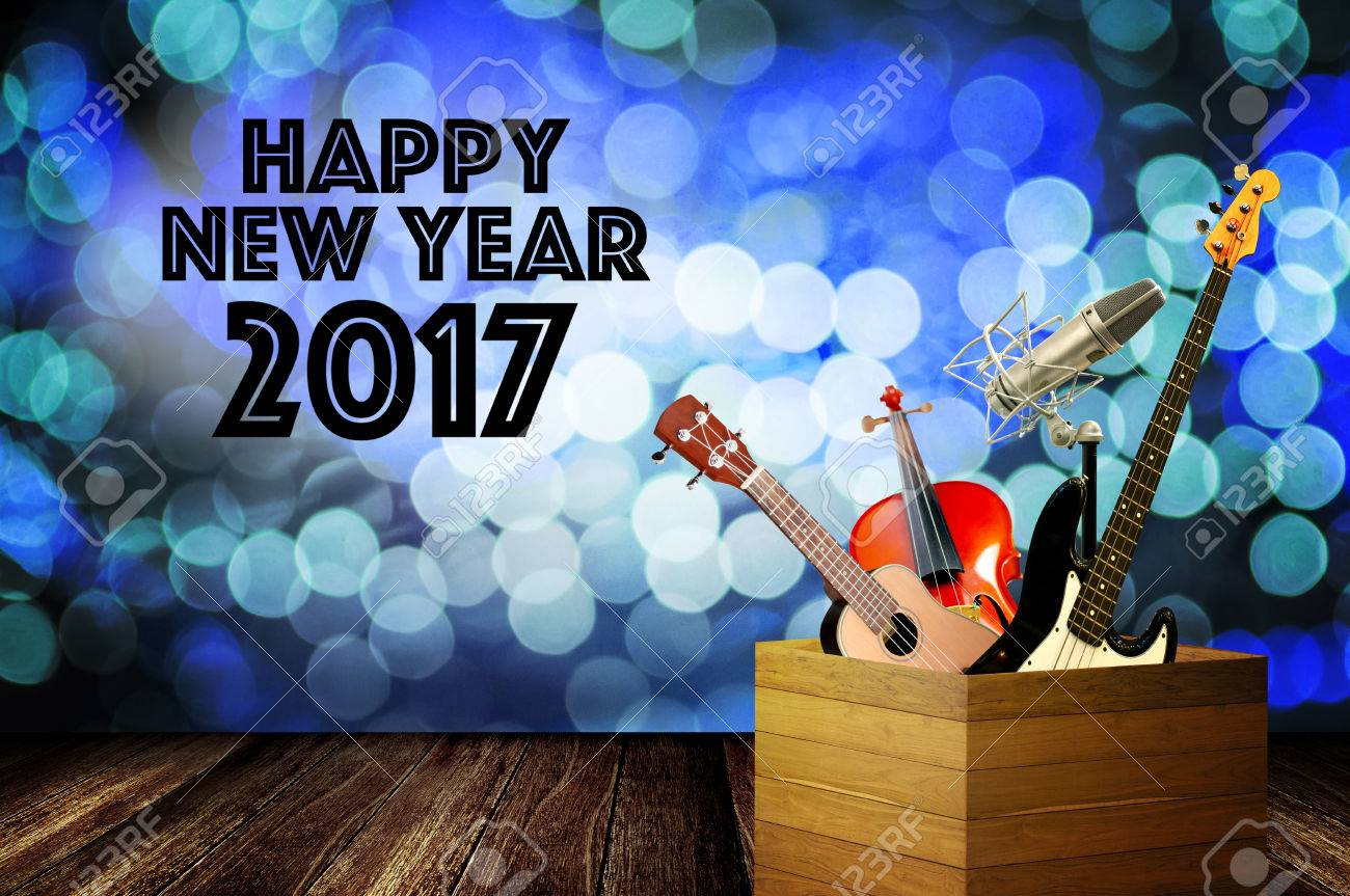 Music Instrument With Happy New Year Greeting Word And Bokeh Stock