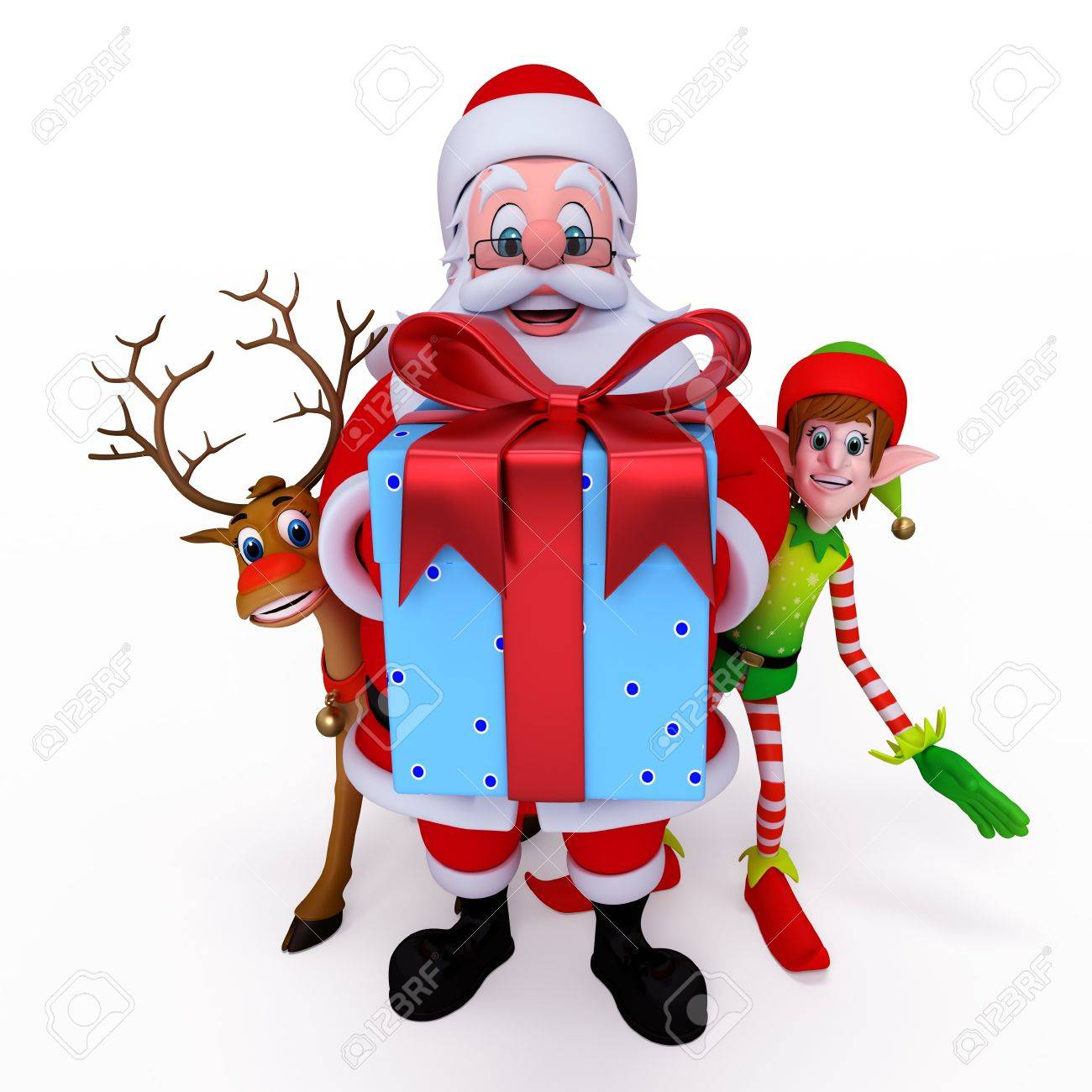 santa claus holding gift box with reindeer and elves stock photo