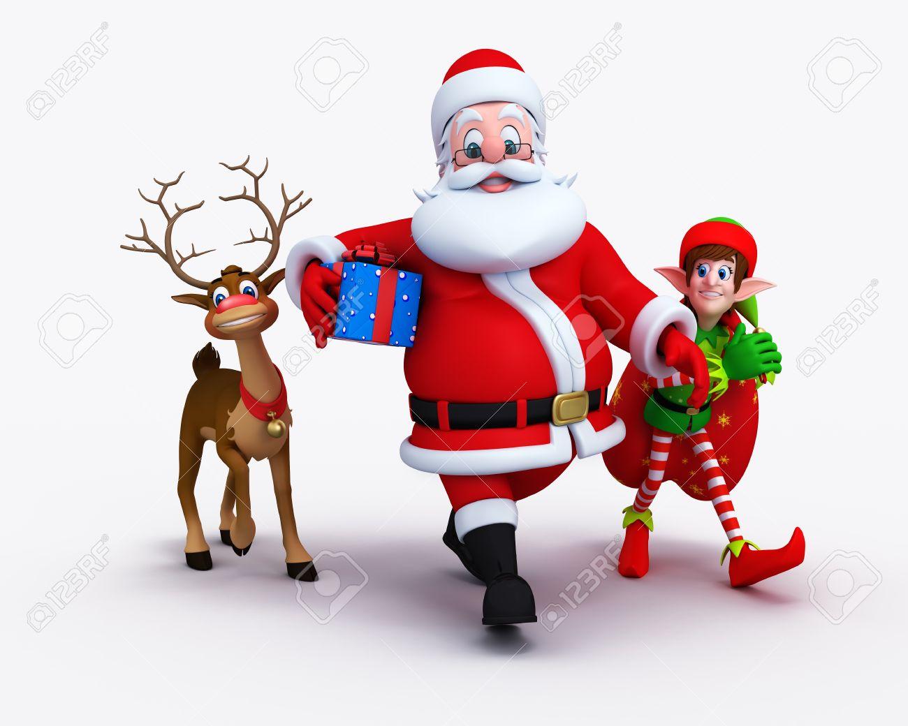 santa is walking with naughty reindeer and elves stock photo