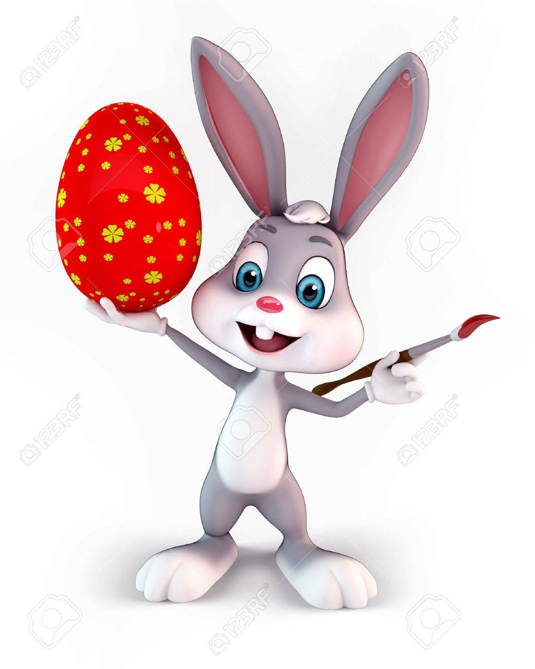 cute easter bunny carrying a colorful egg Stock Photo - 13577260