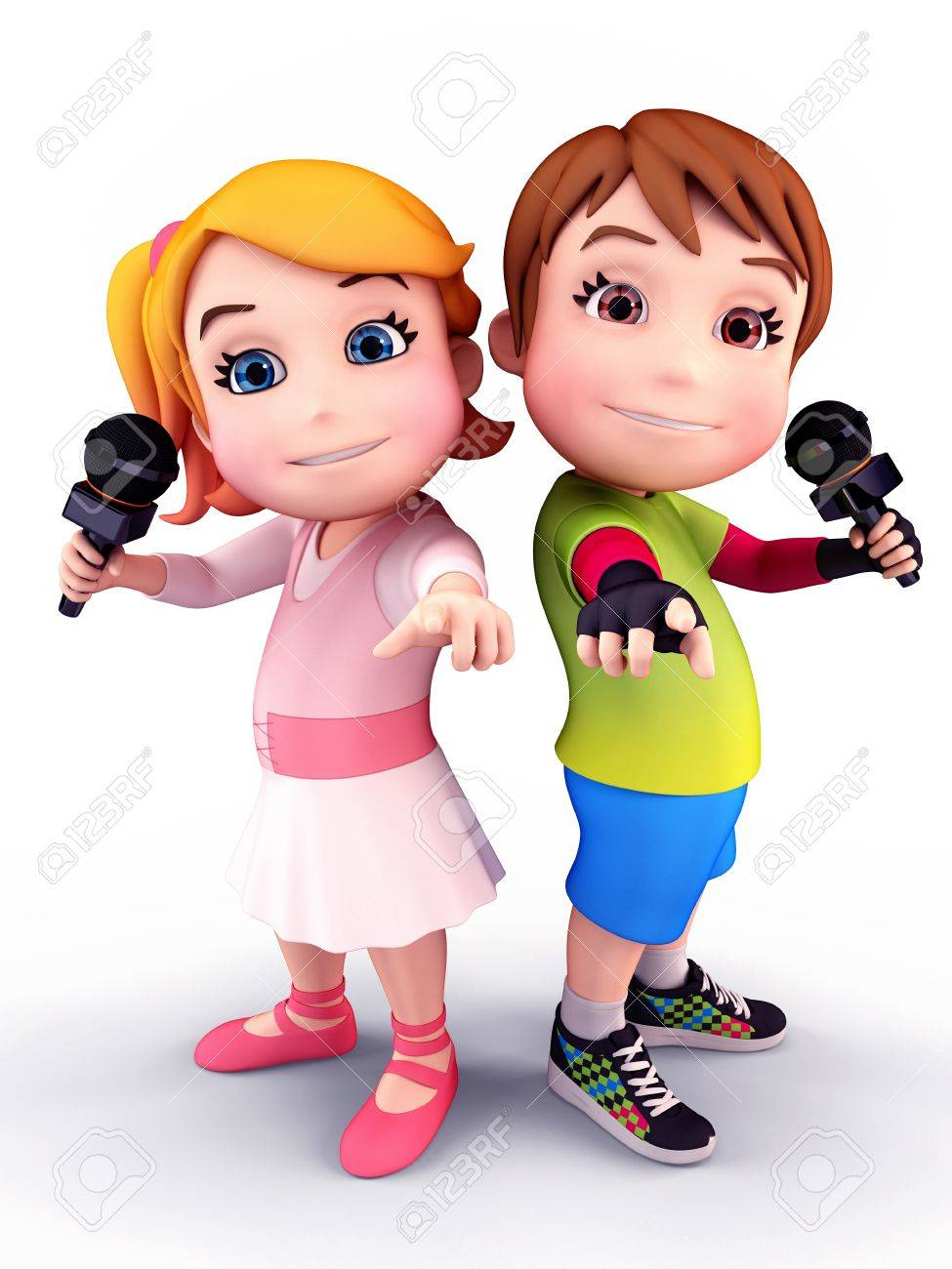 Happy kids with mikes Stock Photo - 13682316