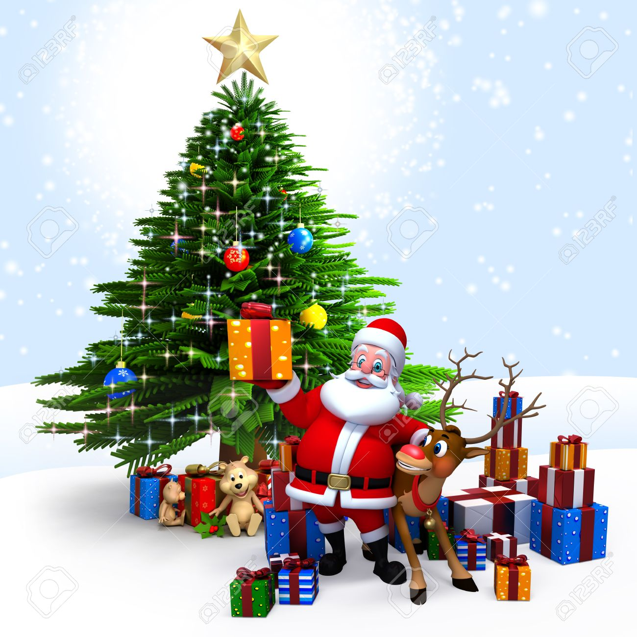 3d art illustration of santa with lots of gifts stock photo