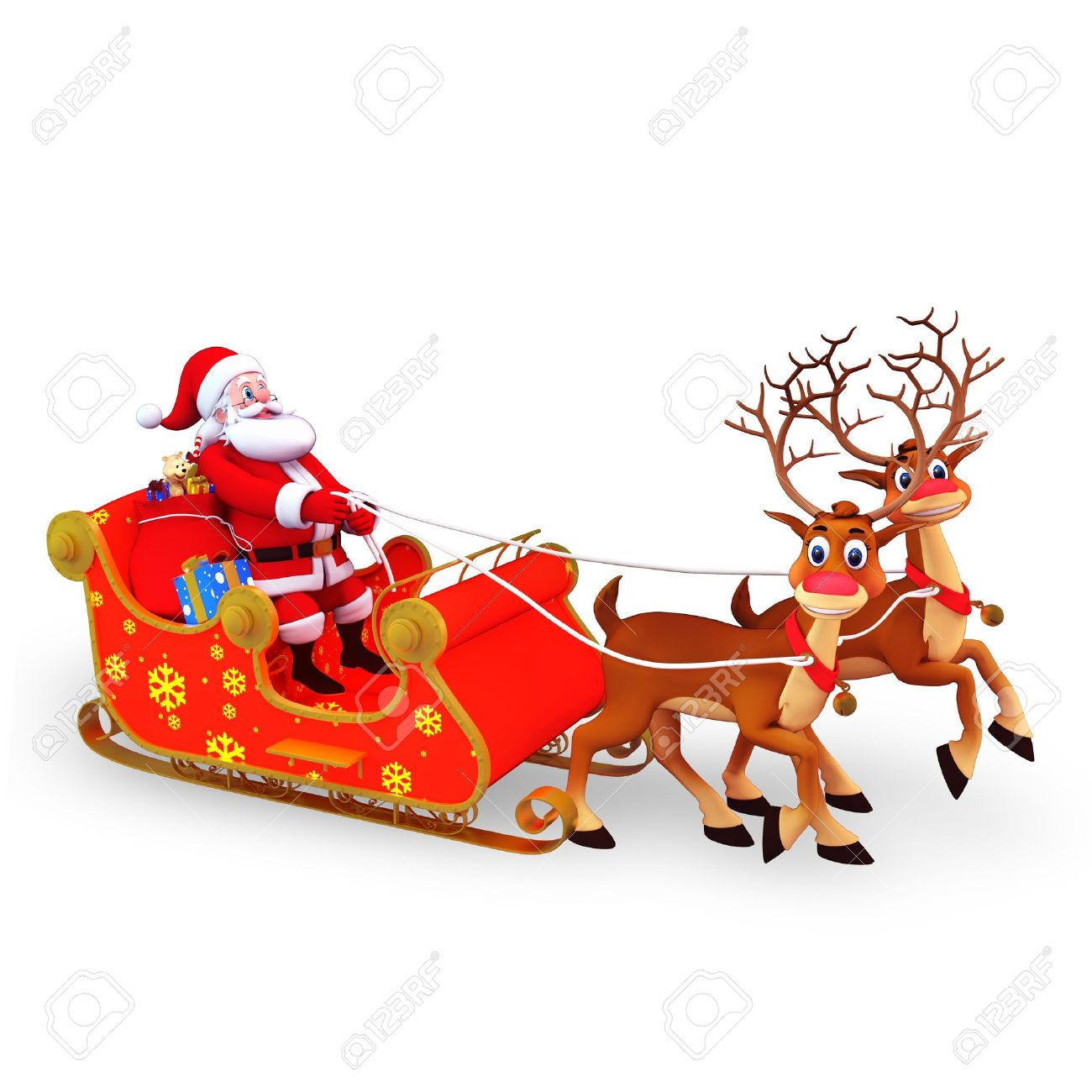 santa claus is with his sleigh and gifts stock photo 15049047 - Santa With Reindeer