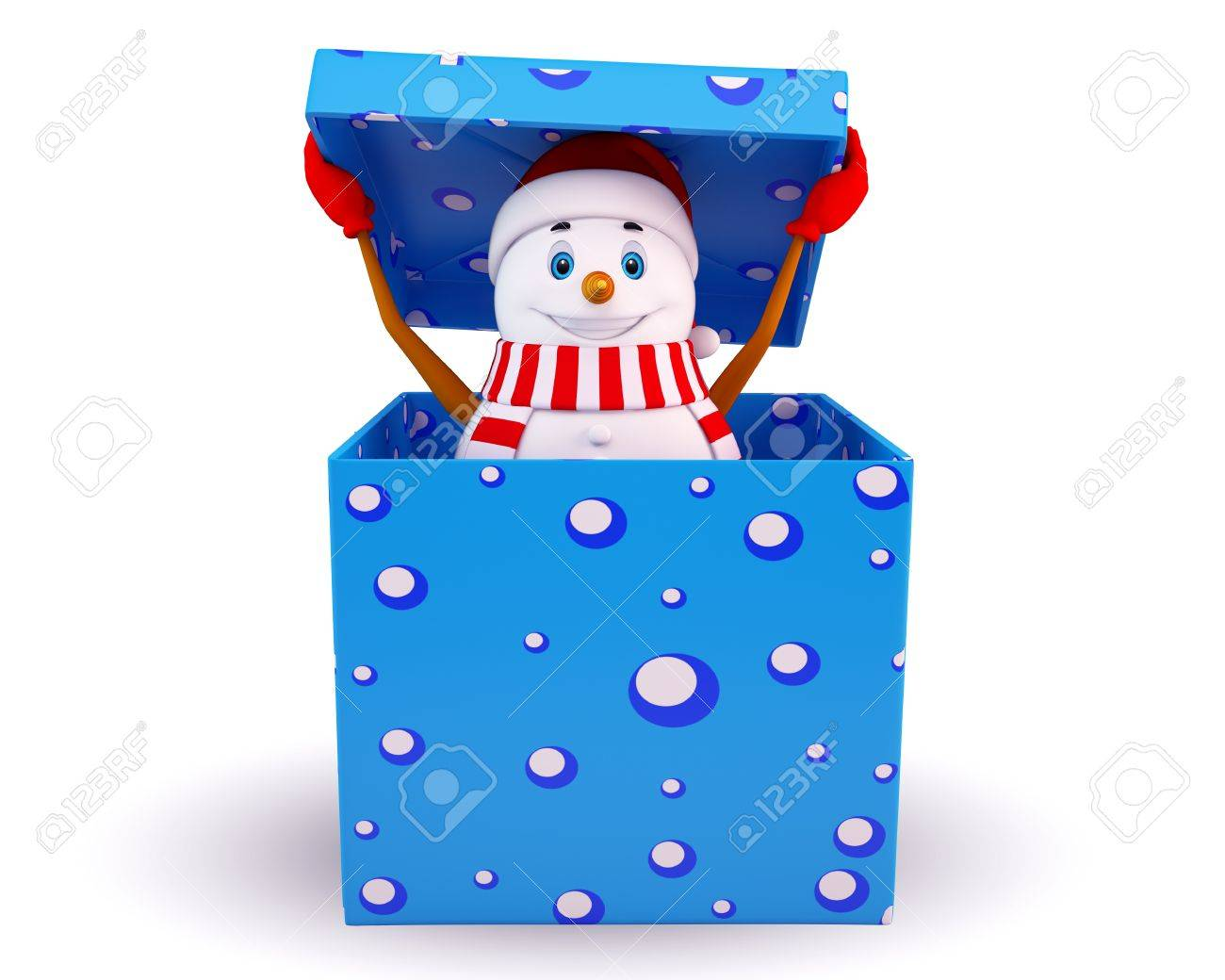snow man coming out of the gift box Stock Photo - 15142774
