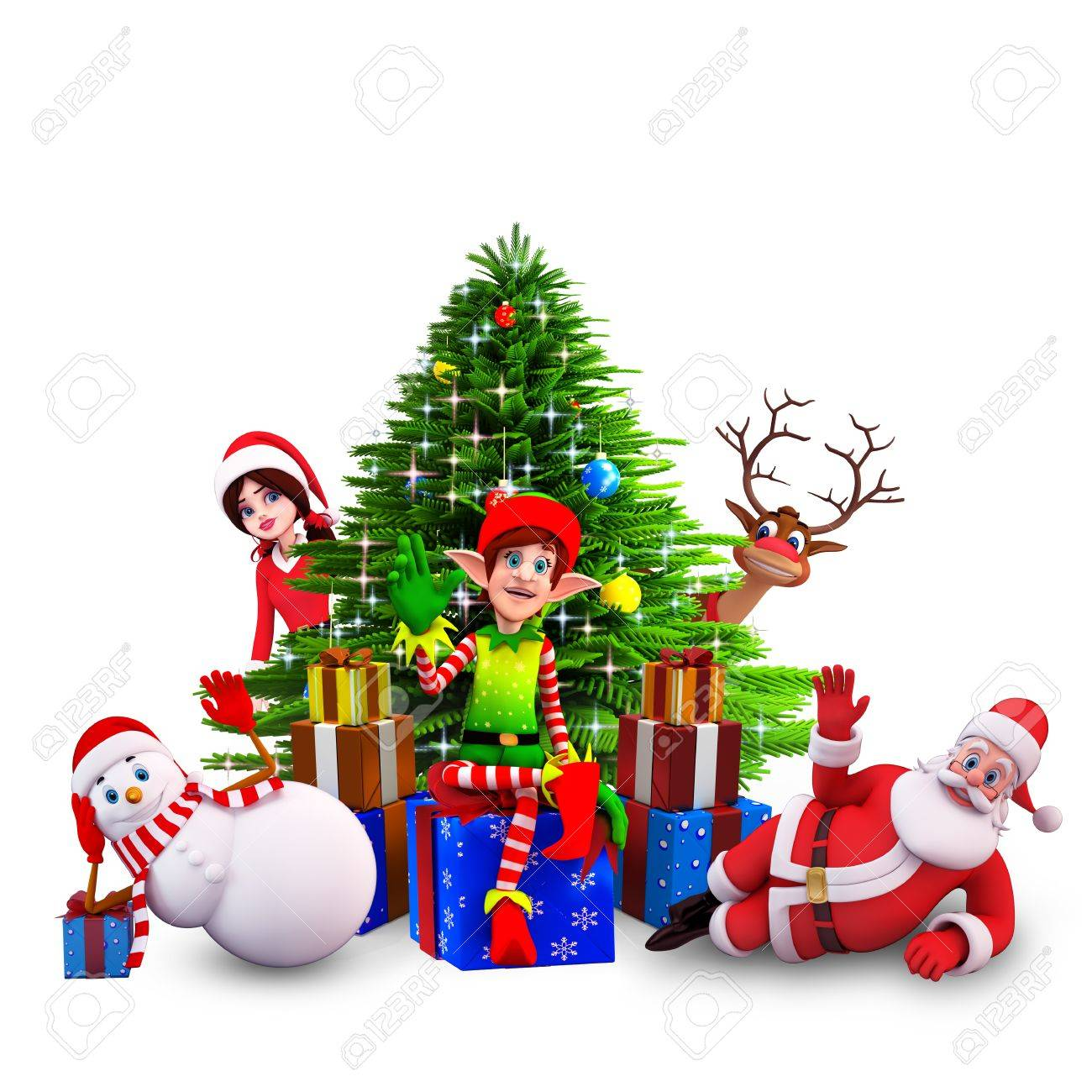 santa claus with all christmas team Stock Photo - 15242793
