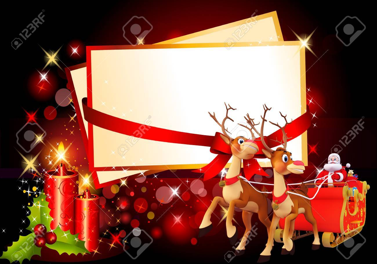 santa and his sleigh with cards on red background Stock Photo - 15242242