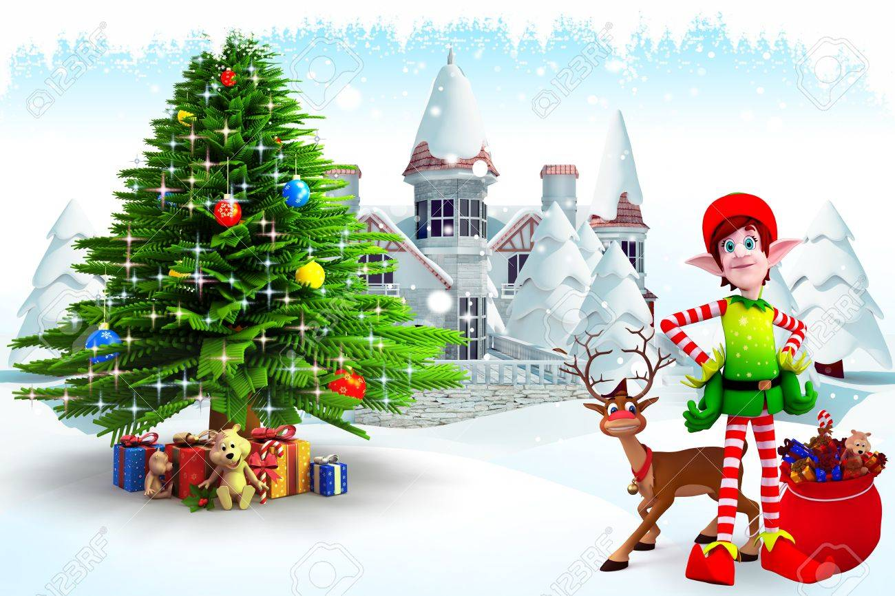 elves and reindeer with christmas tree stock photo picture and
