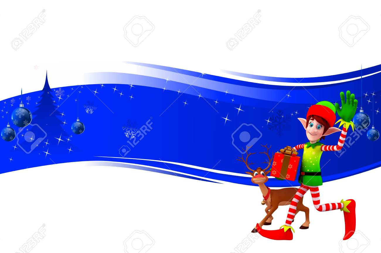 elves and reindeer on blue background Stock Photo - 15242179