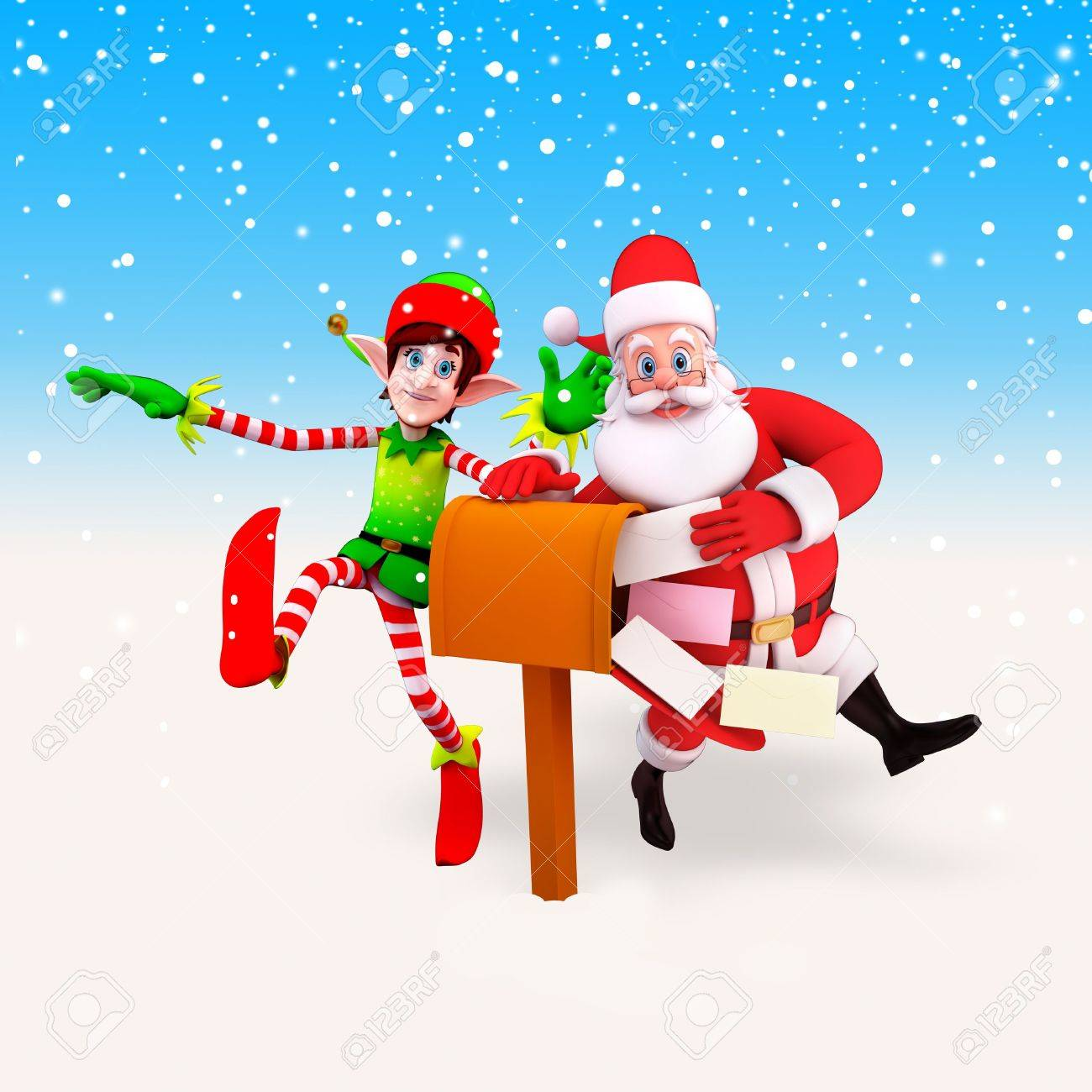 santa and elves with letter box Stock Photo - 15242248