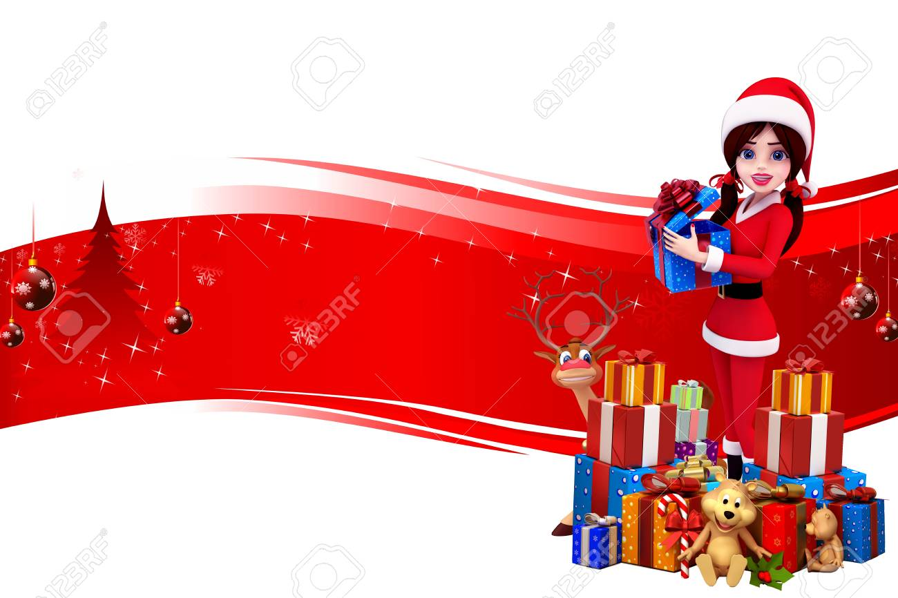 santa girl with lots of gift on red background Stock Photo - 15242239
