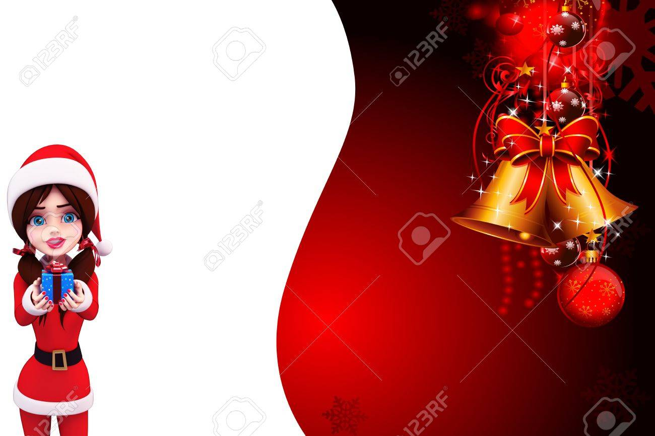santa girl with red background Stock Photo - 15242197