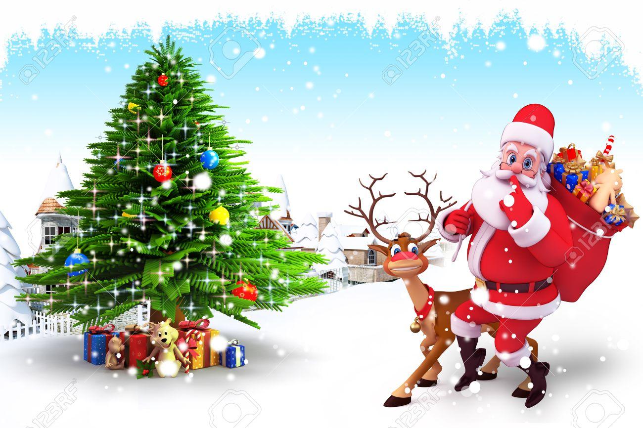 santa with reindeer and christmas tree stock photo 15243193 - Santa With Reindeer