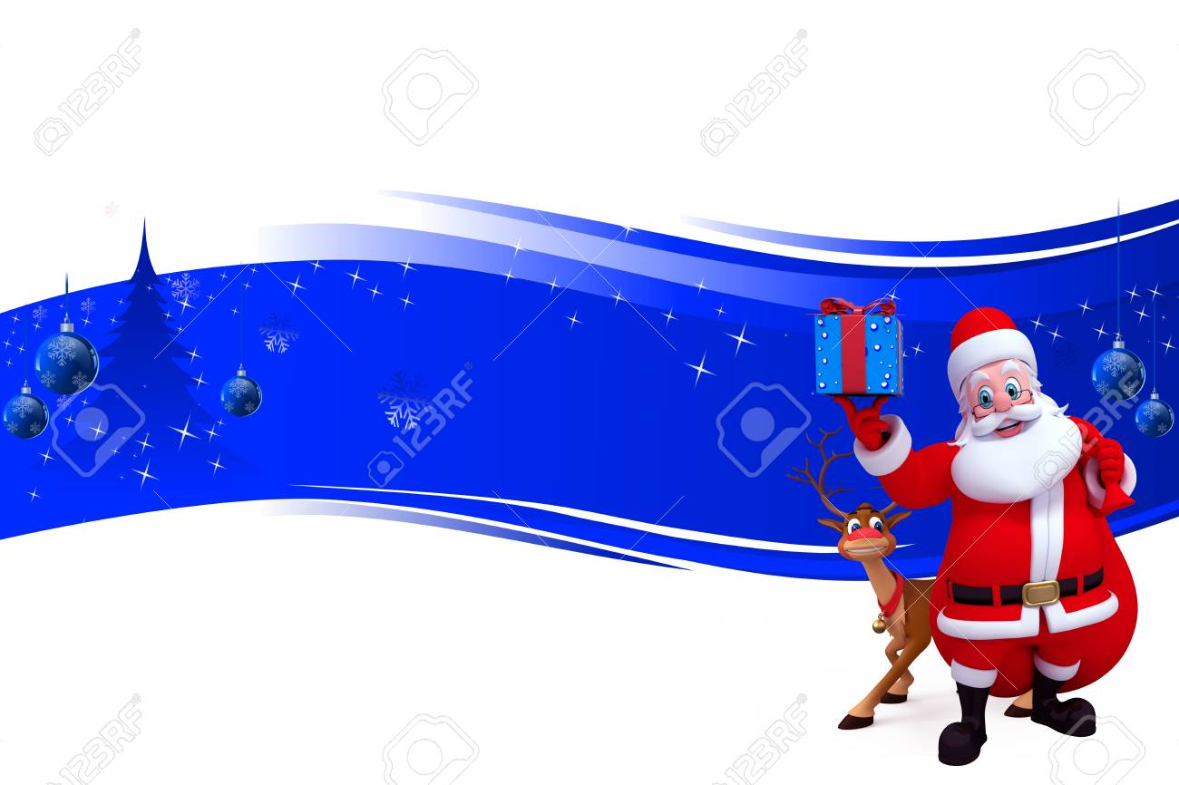 santa with giftsand reindeer on blue background Stock Photo - 15242178