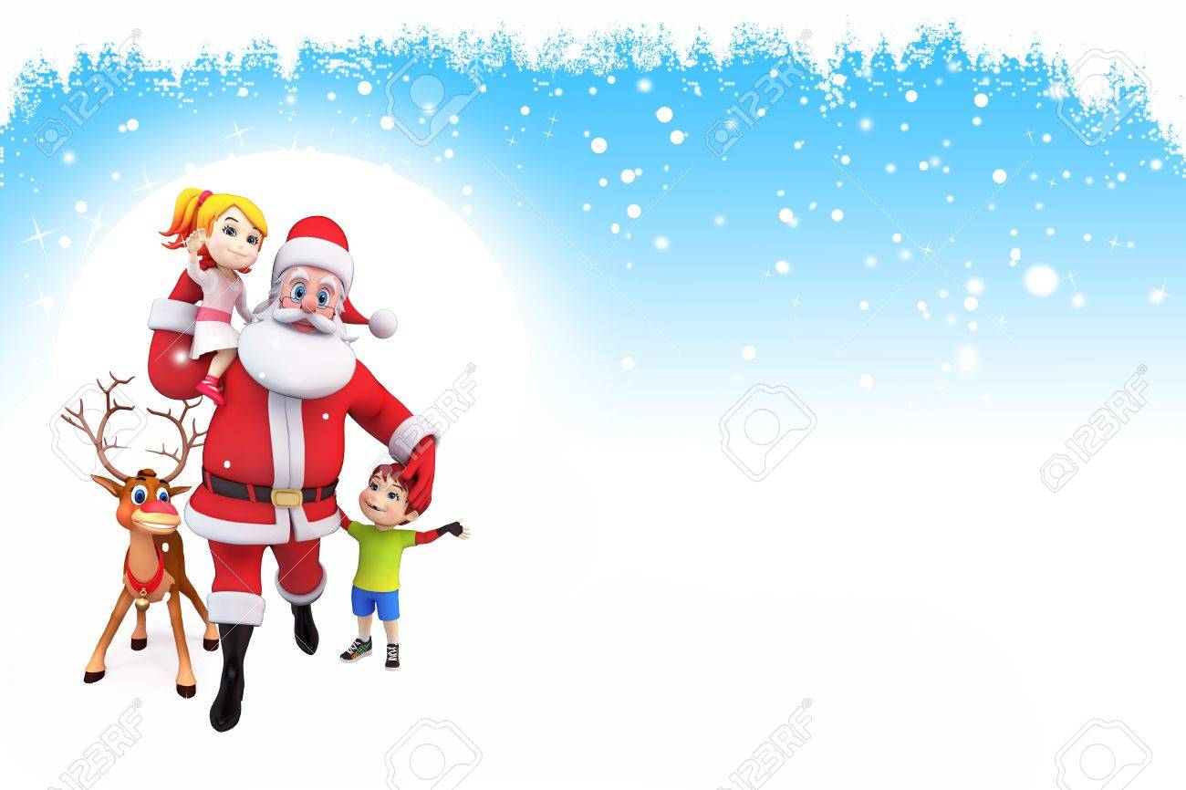 santa with reindeer and kids on blue background stock photo 15242337 - Santa And Kids