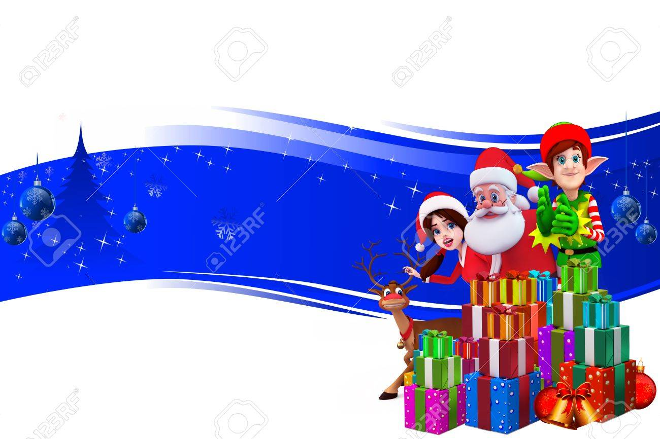 santa on a blue background with elves Stock Photo - 15242252