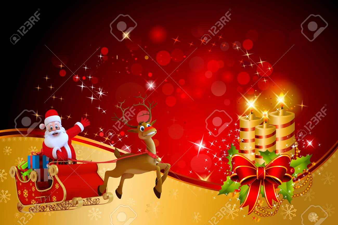 santa with his sleigh on red color background Stock Photo - 15447363