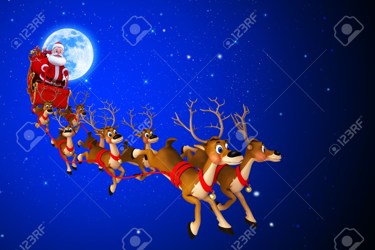 santa with his sleigh on blue color background Stock Photo - 15447360