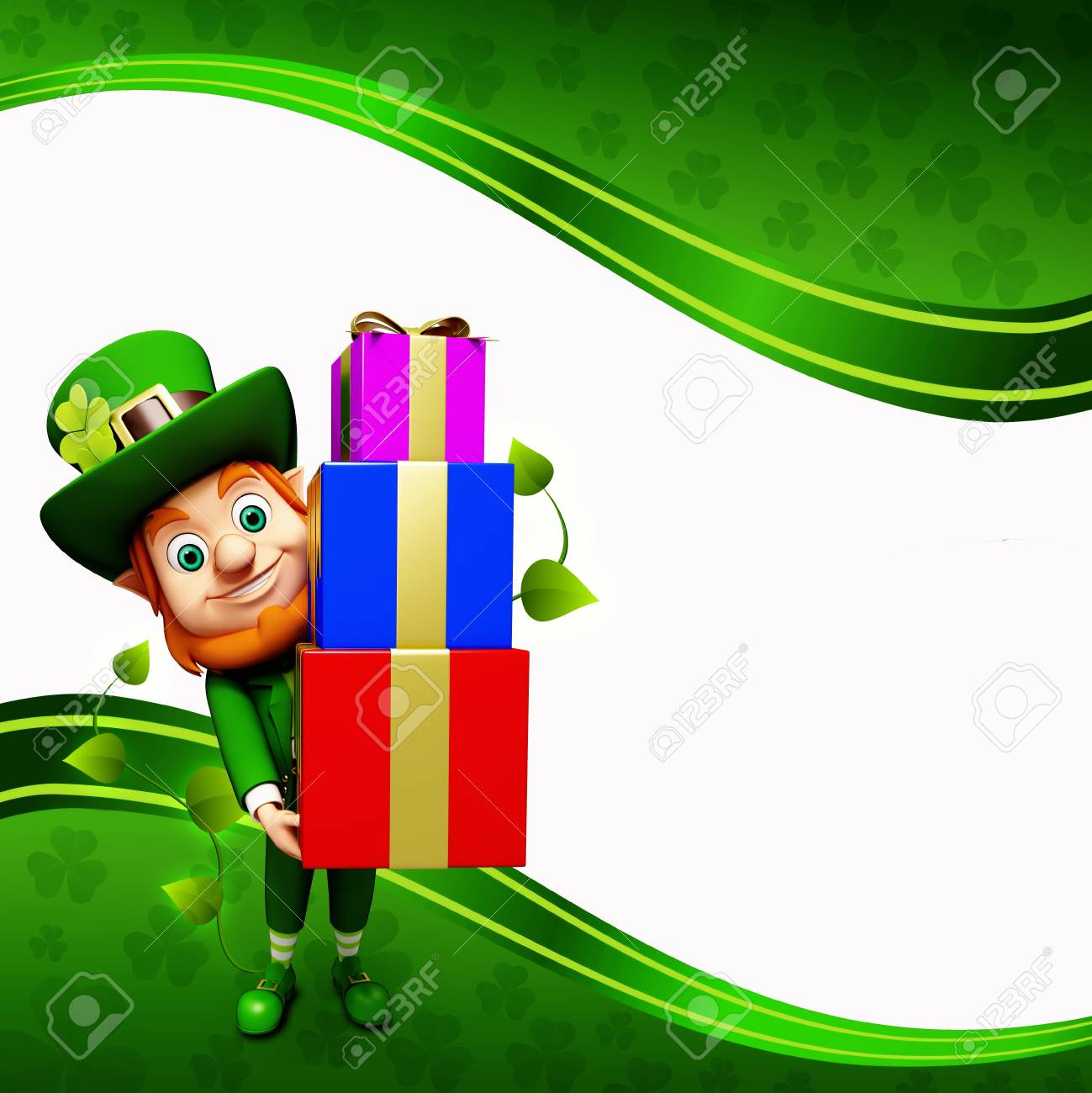 Leprechaun for st  patrick s day with pile of gifts Stock Photo - 19283973