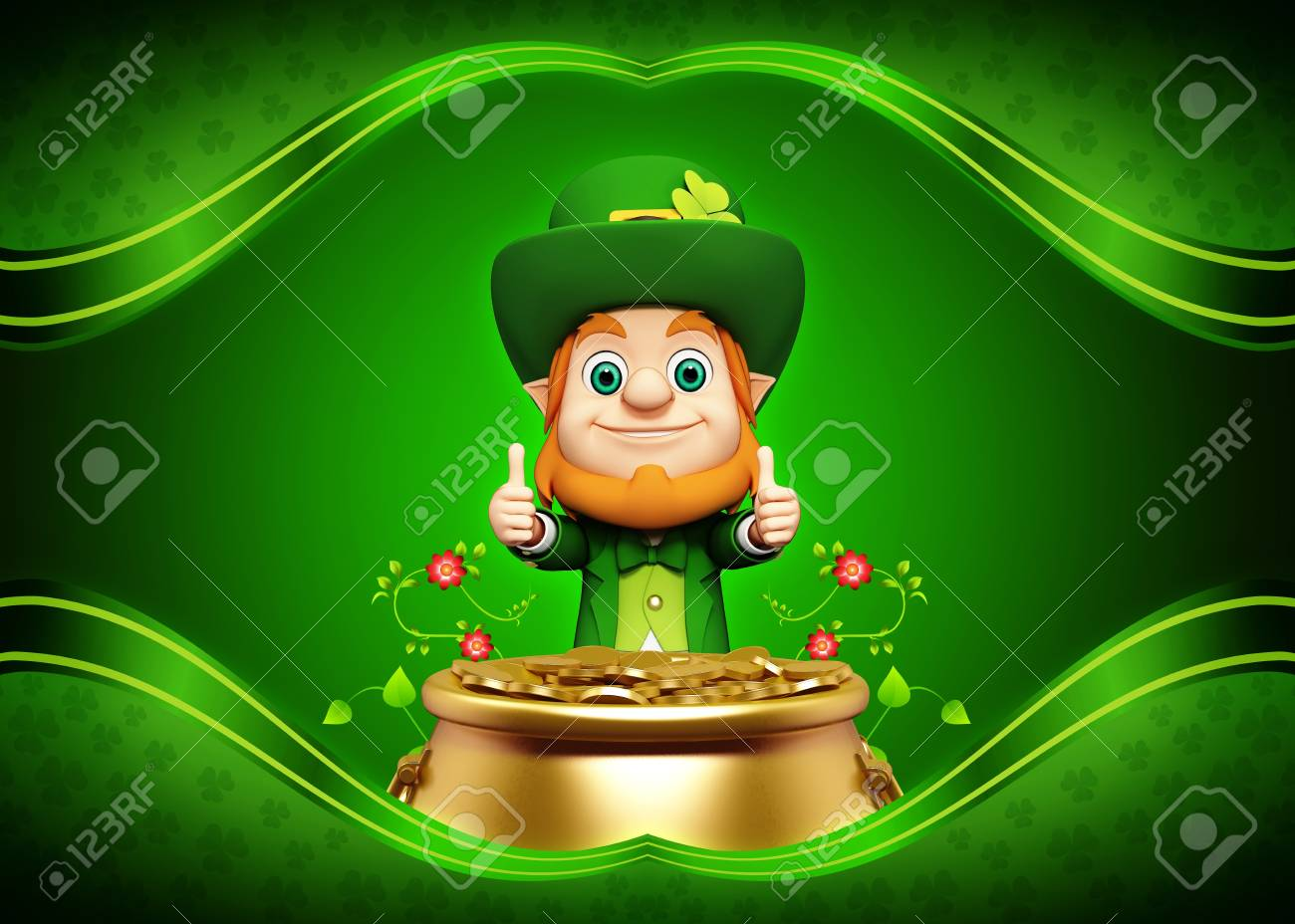 Leprechaun for st  patrick s day with golden coins and pot Stock Photo - 19283958