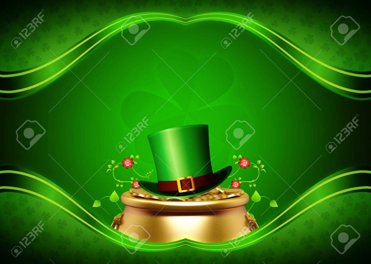 Leprechaun for st patrick s day with golden coins and pot - 19284053