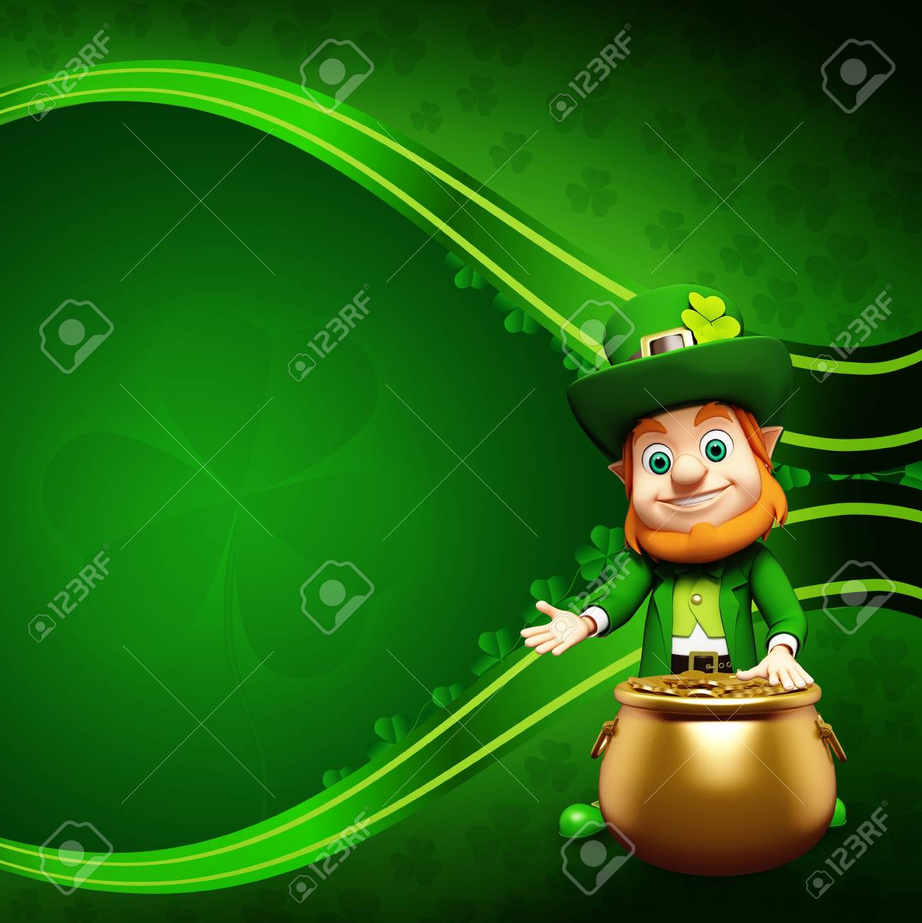 Leprechaun for st  patrick s day with golden coins and pot Stock Photo - 19283980