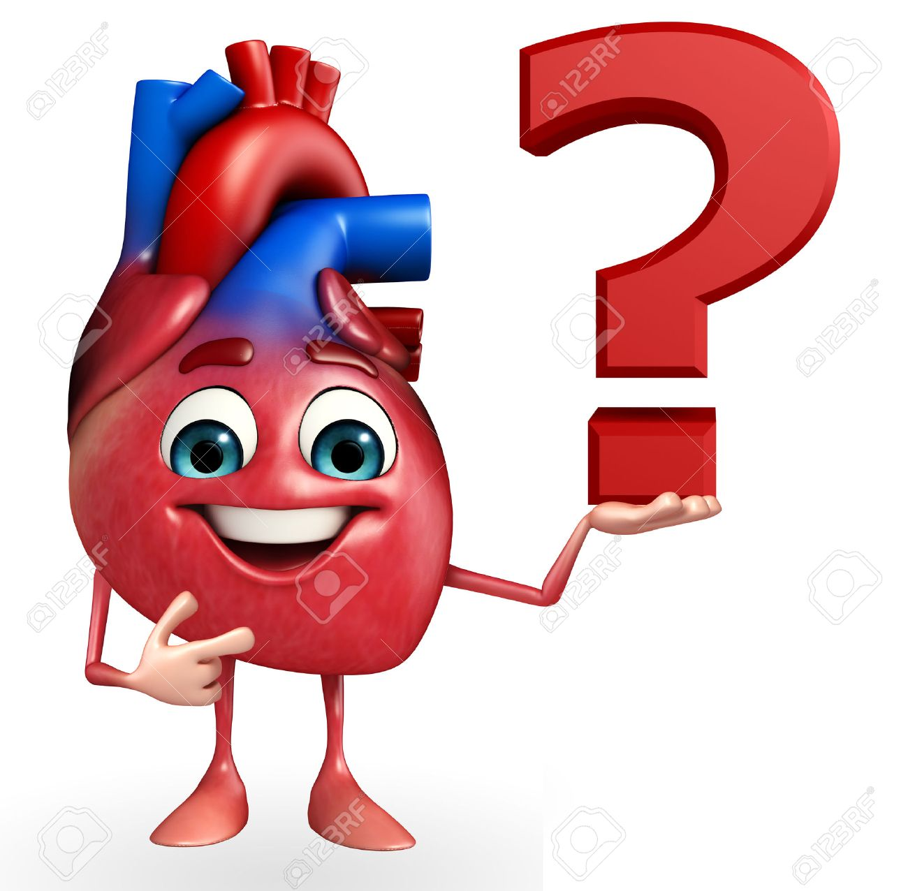 Cartoon Character Of Heart With Question Mark Stock Photo, Picture ...