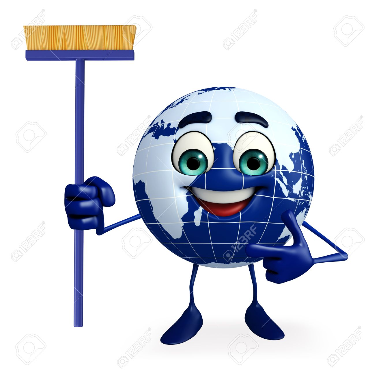 cartoon character of earth with cleaning mop stock photo picture