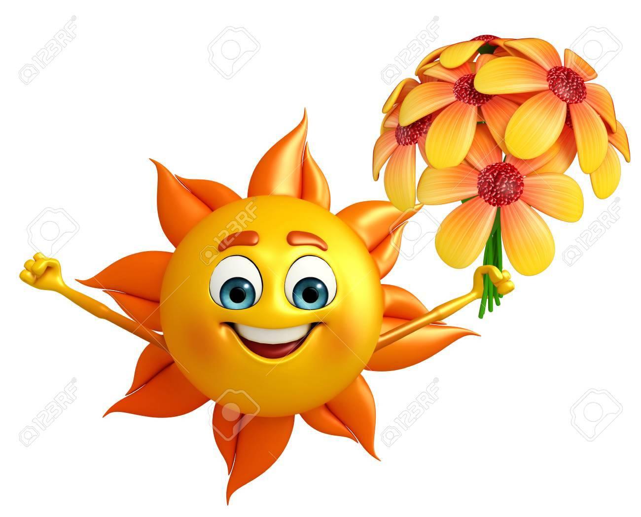 Cartoon Caractère De Soleil Avec Des Fleurs Banque D'Images Et Photos  Libres De Droits. Image 31090687.