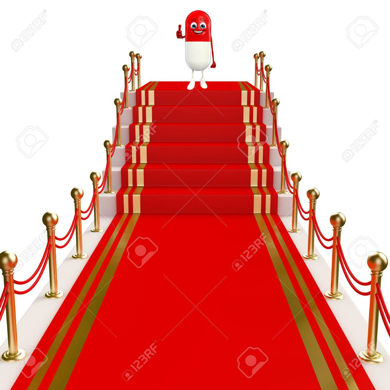 Cartoon Character Of Pill With Red Carpet Stock Photo Picture And Royalty Free Image Image 31140675