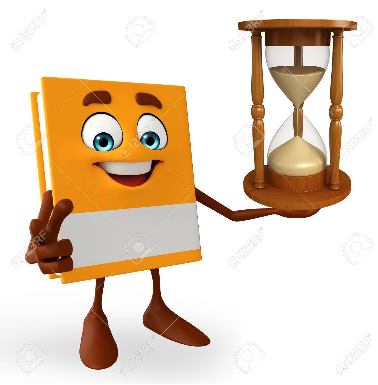 Foto de archivo , Personaje de dibujos animados de libro con reloj de arena