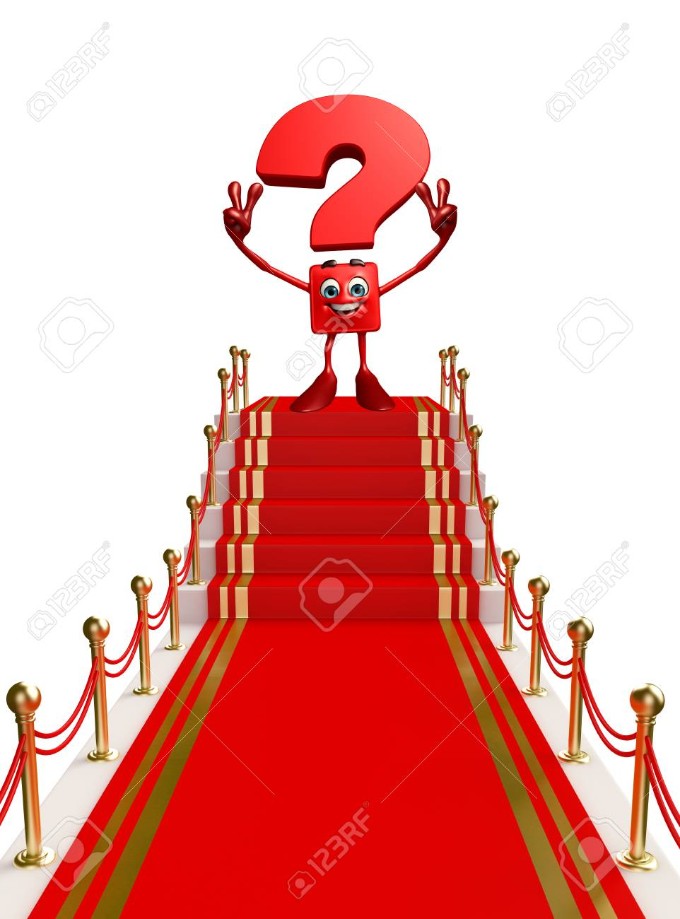 Cartoon Character Of Question Mark With Red Carpet Stock Photo Picture And Royalty Free Image Image 31254825