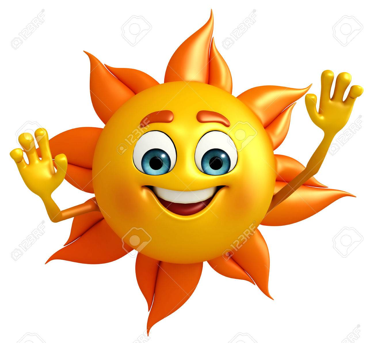 Cartoon Character Of Sun With Helllo Stock Photo, Picture And ...
