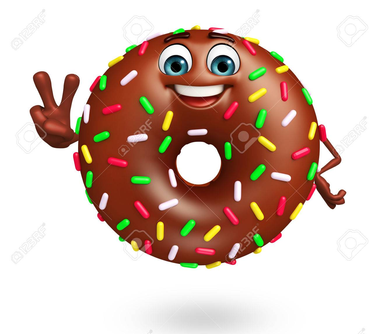 3d Rendered Illustration Of Donuts Cartoon Character Stock Photo