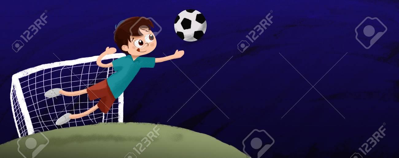 Dibujo Nino Jugando Portero De Futbol La Noche Fotos Retratos