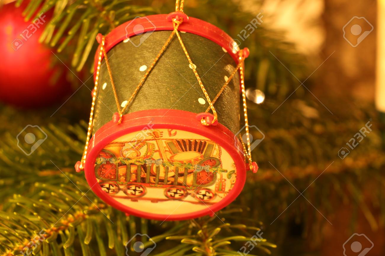 Christmas Drum.Snare Drum As A Decoration On A Christmas Tree
