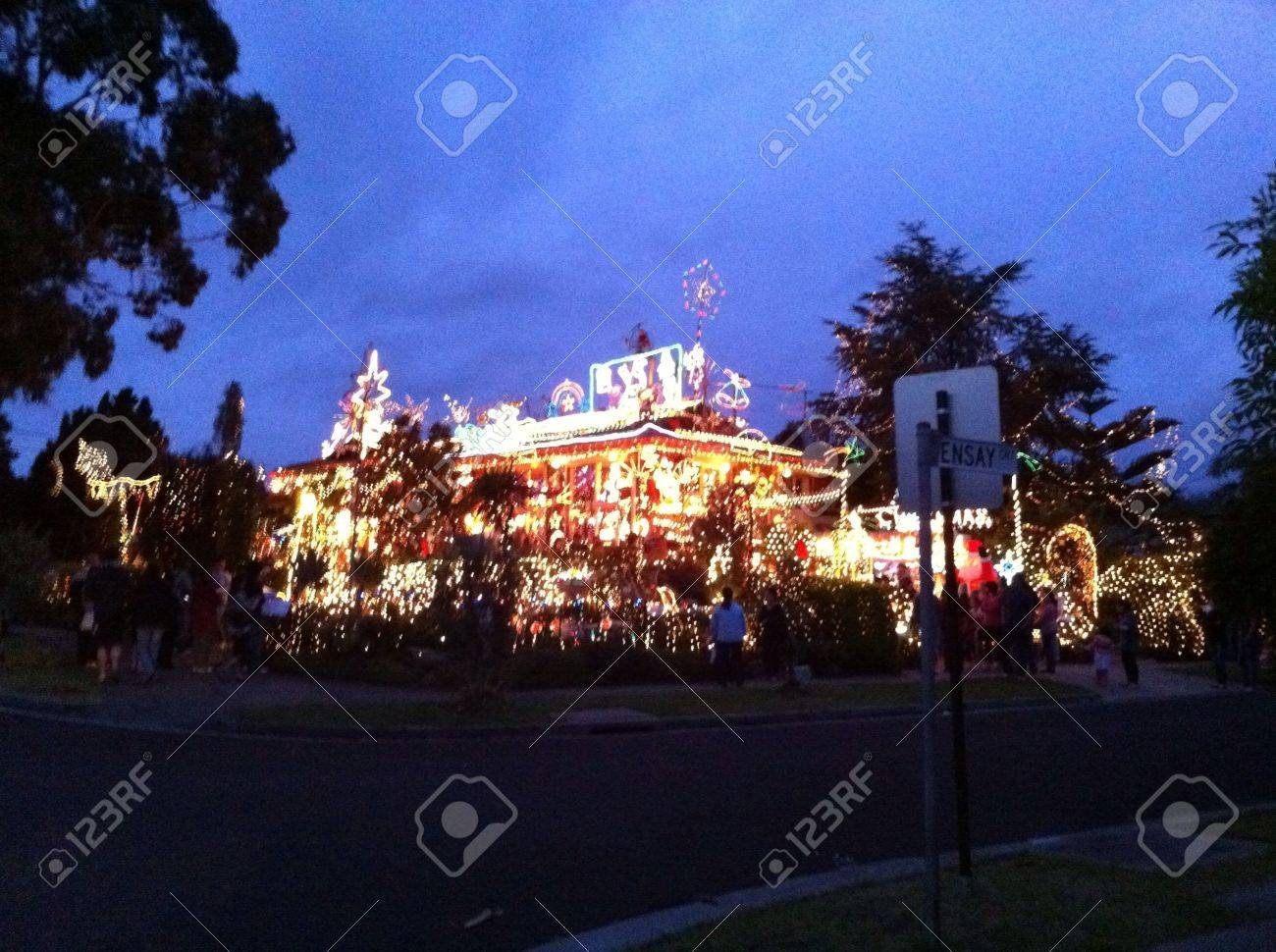 Christmas Lights Suburban Street Melbourne Australia Stock Photo 21234797