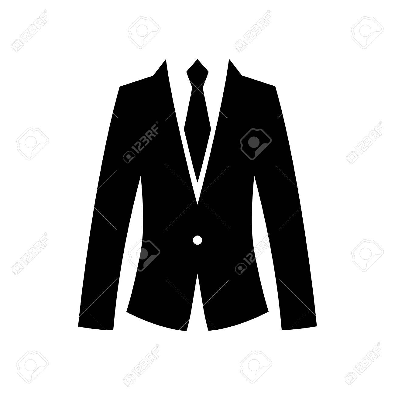Flat suit and tie icon for web. Simple gentlemen silhouette isolated..