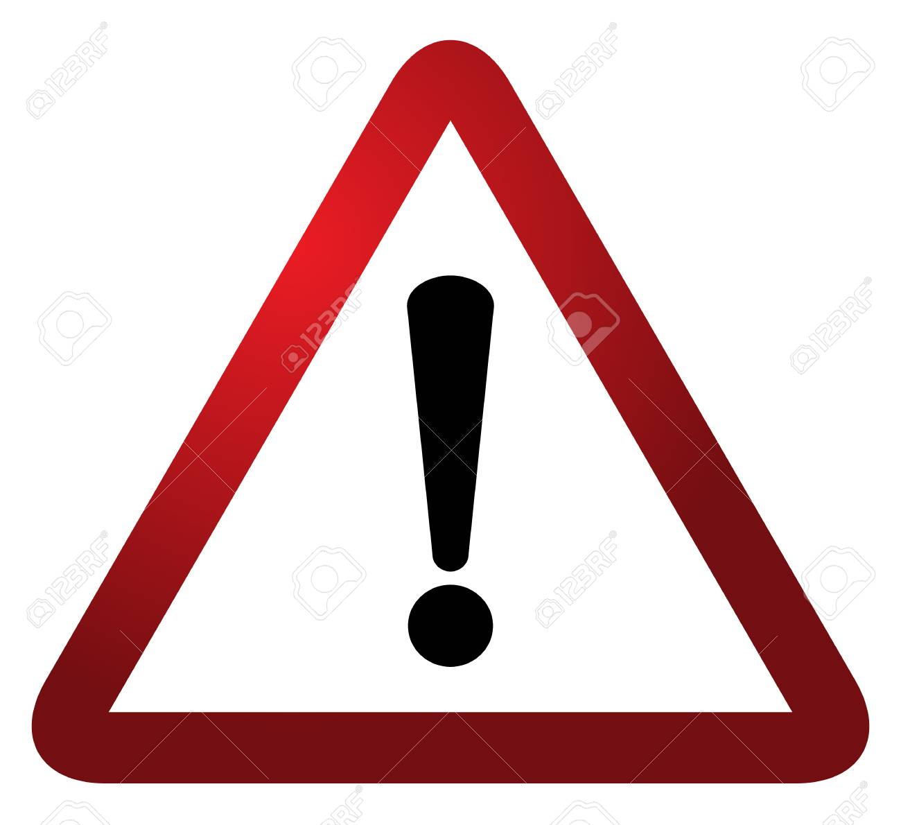 Red triangle warning alert sign vector illustration  Caution