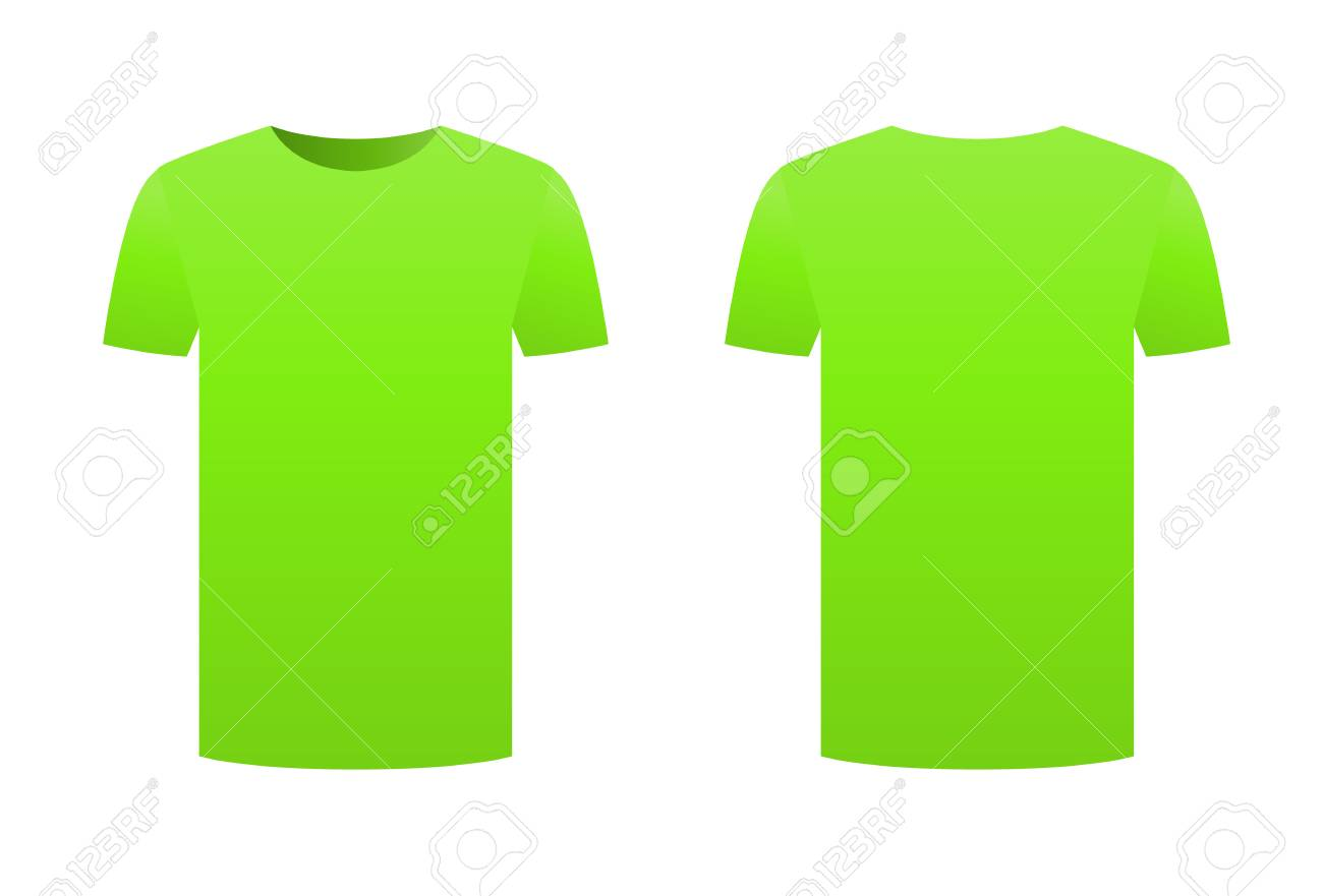 green t shirt template shirt isolated on white background front