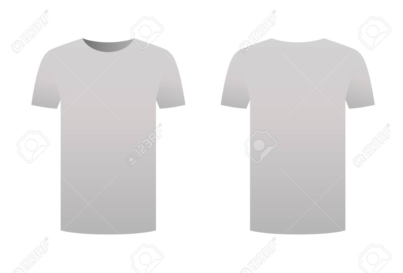 Grey T Shirt Template Isolated On White Background Front And Back Design Short Sleeve