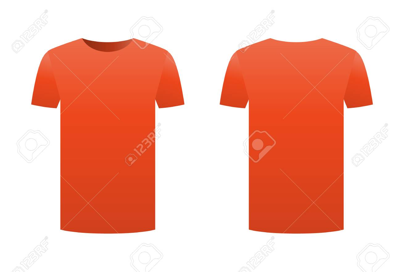 Orange T Shirt Template Shirt Isolated On White Background Front